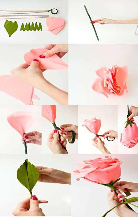 Como hacer rosas gigantes de papel crepe