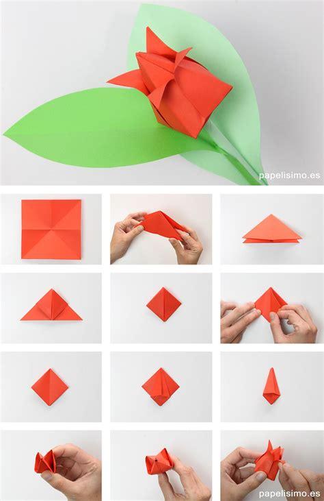 Como hacer tulipan de papel origami tulip flowers | Como ...