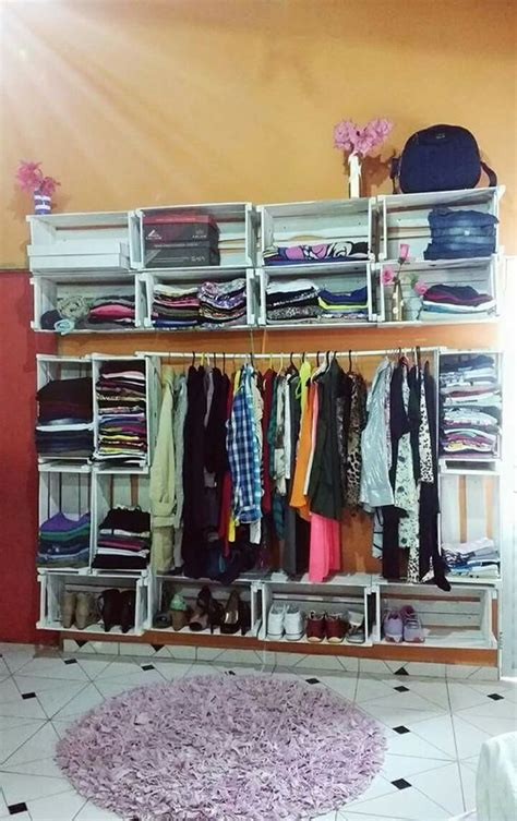 como hacer un closet de huacales en 2020 | Cajas de madera ...