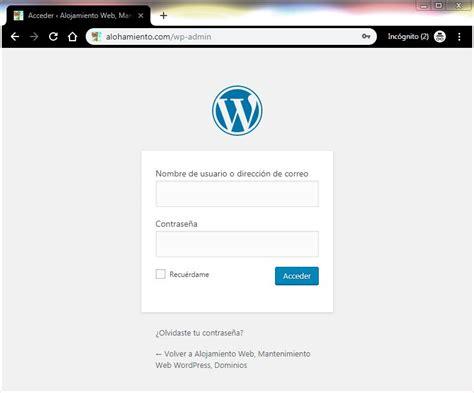 Cómo iniciar sesión en mi WordPress – Alojamiento Web ...