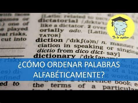¿Cómo ordenar alfabéticamente una lista de palabras?   YouTube