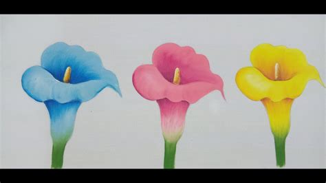 Como Pintar Flores / How To Paint Flowers / Callas Lilies ...