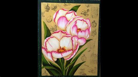 Como pintar flores   Tecnica americana   YouTube