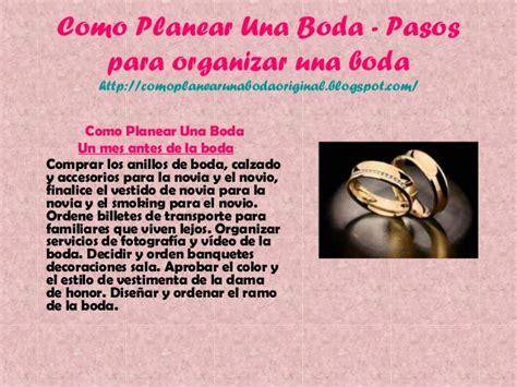 Como planear una boda pasos para organizar