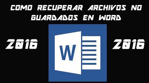 Como recuperar archivos no guardados en word | RusoX   YouTube