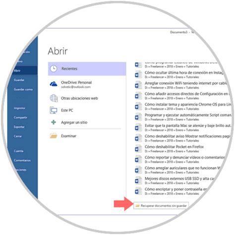Cómo recuperar documentos no guardados en Microsoft Word ...