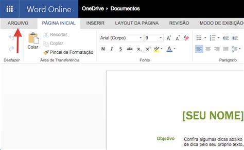 Como salvar textos e documentos do Microsoft Word Online ...