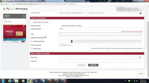 Como transferir en el Banco Bicentenario   YouTube