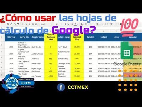 ¿Cómo usar las hojas de cálculo de Google? | Sheets | Muy ...