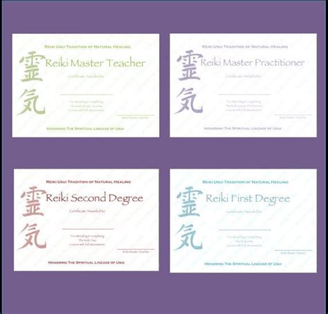 Complete Set Reiki Certificate Templates x4 by ...