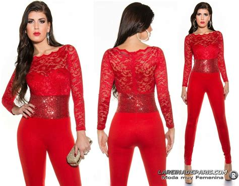 Comprar Mono largo cintura lentejuelas rojo online Monos ...