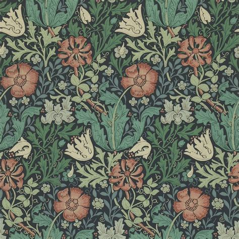 Compton Wallpaper   Indigo/Russet  210421    William ...