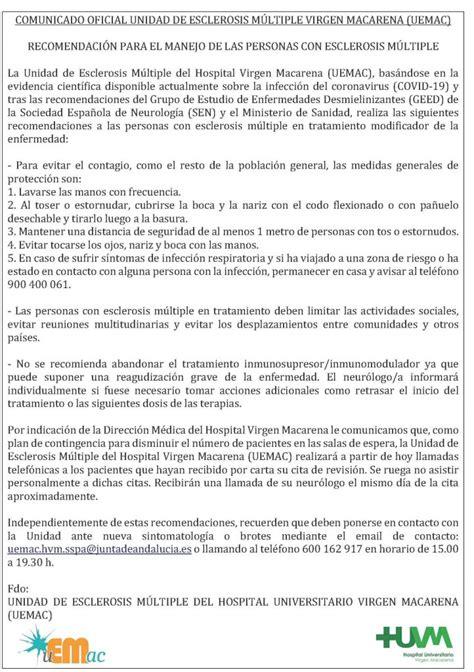 Comunicado Unidad de EM Virgen Macarena  UEMAC    EM SEVILLA