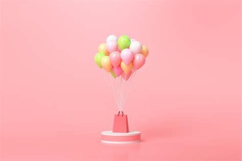 Concepto de compra online. globos y cajas de regalo con ...