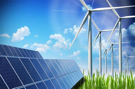 Concepto De La Energía Renovable Con Los Paneles Solares Y ...