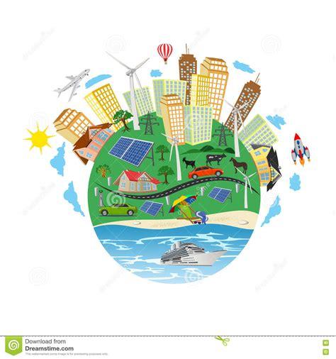 Concepto De La Energía Renovable, Planeta Verde, Ejemplo ...