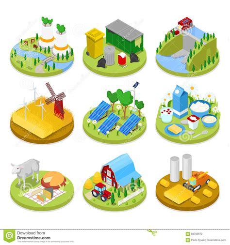 Concepto Isométrico De La Ecología Energía Renovable ...