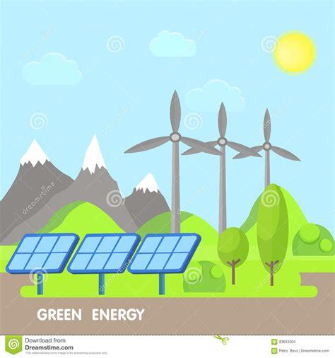 Concepto Renovable De La Energía Del Eco Paisaje Verde Con ...
