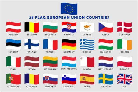 Conjunto de banderas de onda de los países de la unión ...