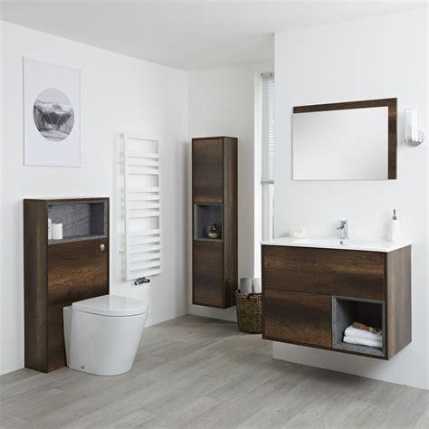 Conjunto de Baño con Diseño Abierto de Color Roble Oscuro ...