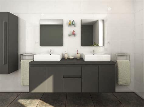 Conjunto de baño mueble + doble lavabo + espejo gris LAVITA II