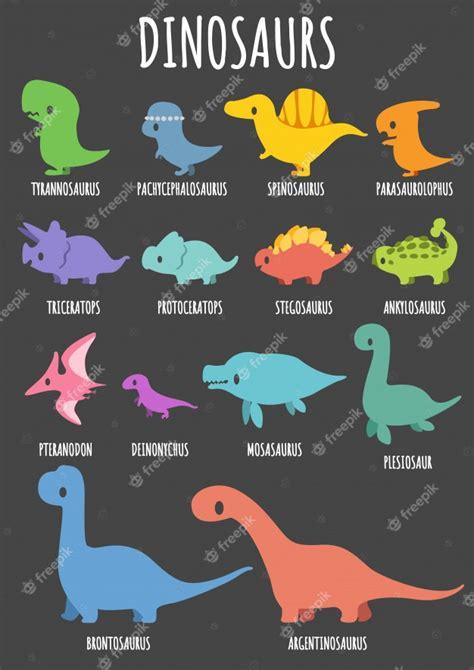 Conjunto de dinosaurios lindos con sus nombres. | Vector ...