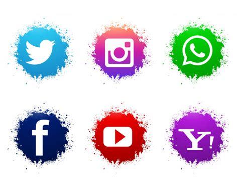 Conjunto de iconos abstractos acuarela redes sociales ...