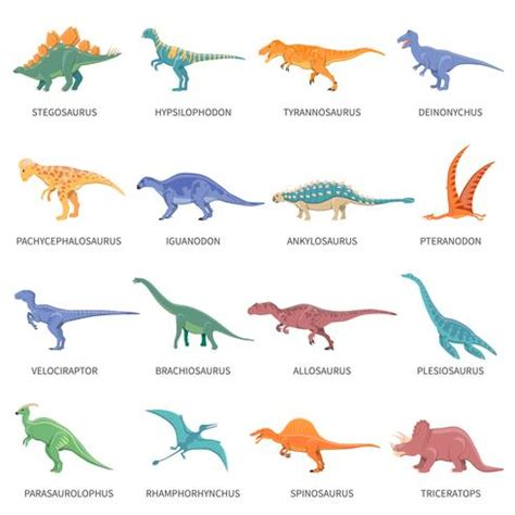 Conjunto de iconos aislados de colores dinosaurios ...