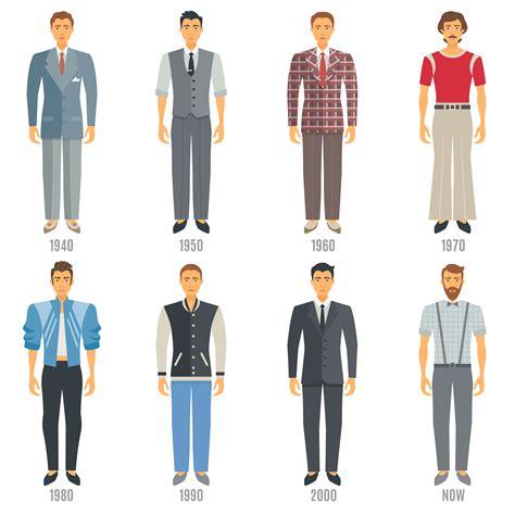 Conjunto de iconos de la evolución de la moda de los ...