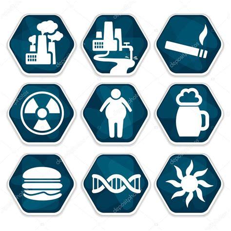 Conjunto de iconos de los factores de riesgo de cáncer ...