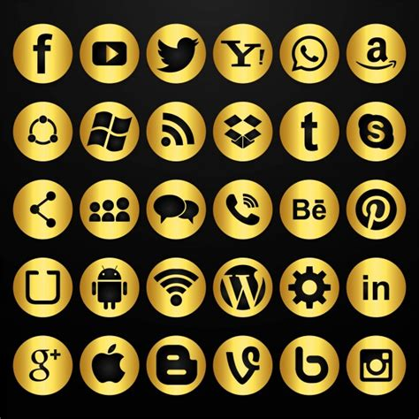 Conjunto de iconos dorados de redes sociales   Descargar ...