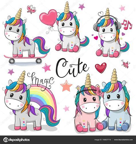 Conjunto de lindo de dibujos animados de unicornios ...