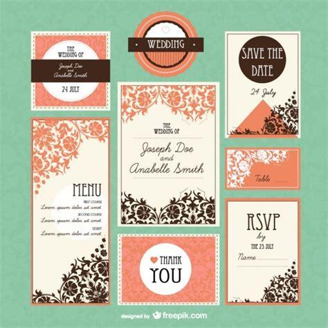 Conjunto de plantillas de boda Invitaciones de boda gratis