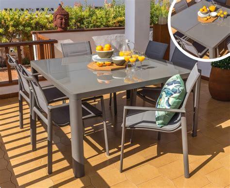 Conjunto de terraza alumnio tortora 8 sillas mesa 140x140 ...