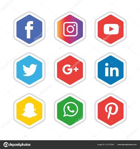Conjunto Iconos Redes Sociales Logotipo Vectorial ...