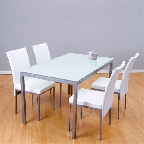 Conjunto mesa + 4 sillas LUX blanco | Closet Norte