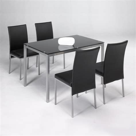 Conjunto mesa + 4 sillas LUX negro | Closet Norte