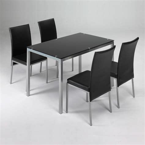Conjunto mesa + 4 sillas LUX negro   Closet Norte