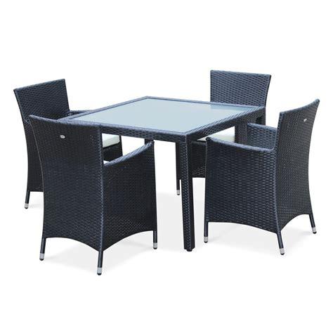 Conjunto mesa y sillas de jardin Negro Crudo 4 plazas de ...