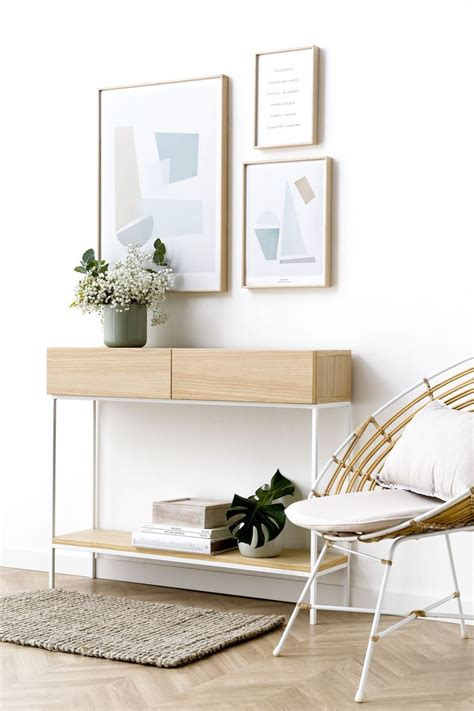 Consola estilo minimal con dos cajones blanco y madera ...