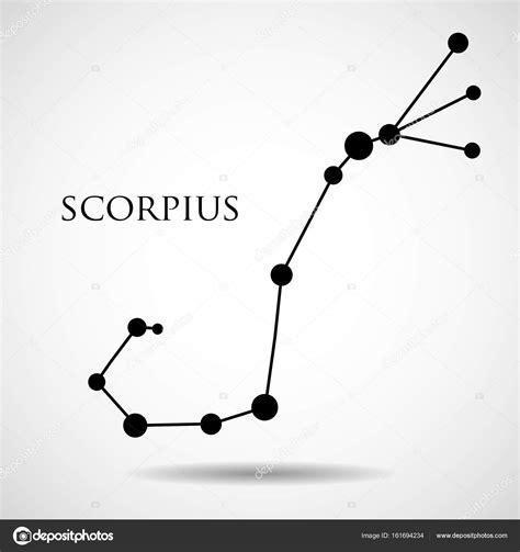 Constellation scorpius zodiac sign isolated on white ...