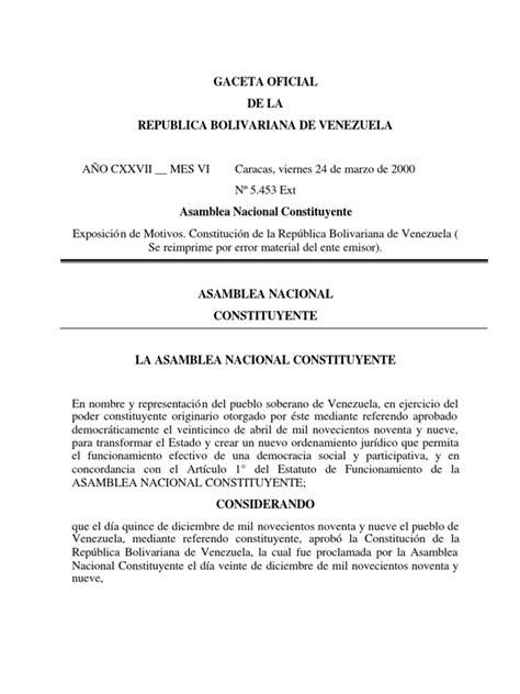 Constitucion de La Republica Bolivar Ian A de Venezuela ...