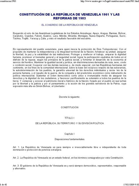 CONSTITUCIÓN DE LA REPÚBLICA DE VENEZUELA 1961 ...