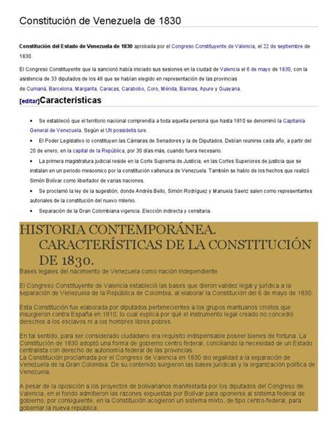 Constitución de Venezuela de 1830 | Venezuela | Colombia