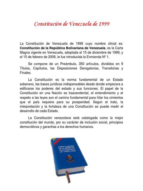 Constitución de Venezuela de 1999 | Constitución | Venezuela