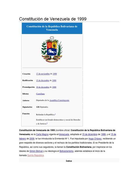 Constitución de Venezuela de 1999 | Government Information ...