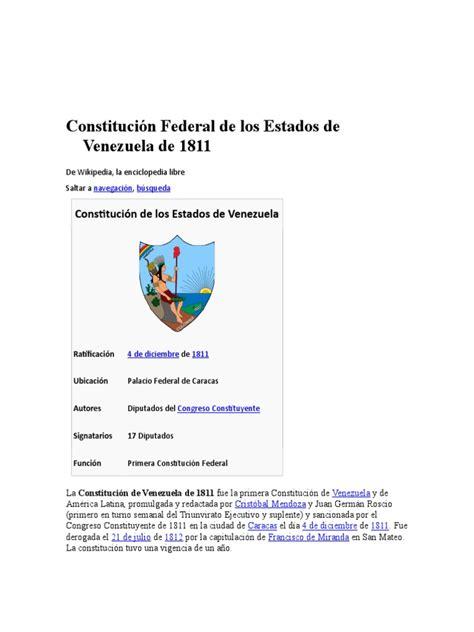 Constitución Federal de los Estados de Venezuela de 1811 ...