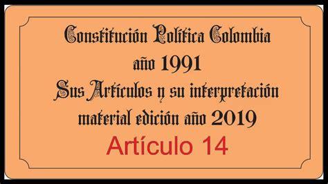 Constitucion Politica de Colombia 1991 Articulo 14   YouTube