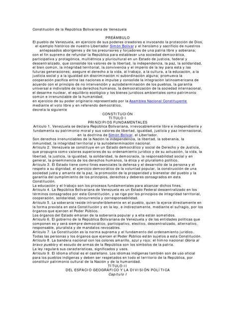 Constitución República Bolivariana de Venezuela ...