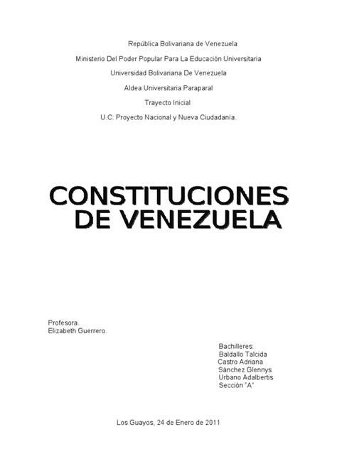 CONSTITUCIONES DE VENEZUELA | Venezuela | Constitución